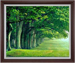 the green woods F30サイズ 【油絵 直筆仕上げ】【額縁付】 油彩 風景画 オリジナルインテリア絵画 風水画 ブラウン額縁 1070×887mm 送料無料