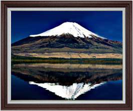 富士山(3) F30サイズ 【油絵 直筆仕上げ】【額縁付】 油彩 風景画 オリジナルインテリア絵画 風水画 ブラウン額縁 1070×887mm 送料無料