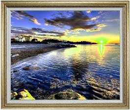 朝の海辺にて  F30サイズ 【油絵 直筆仕上げ】【額縁付】 油彩 風景画 オリジナルインテリア絵画 風水画 ゴールド額縁 1070×887mm 送料無料
