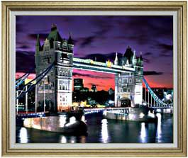 夜、ロンドン橋 F30サイズ 【油絵 直筆仕上げ】【額縁付】 油彩 風景画 オリジナルインテリア絵画 風水画 ゴールド額縁 1070×887mm 送料無料