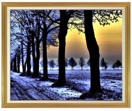 冬の足跡  F50サイズ 【油絵 直筆仕上げ絵画】【額縁付】 油彩 風景画 インテリア絵画 風水画 インテリアアート絵画 1303mm×1046mm 50号