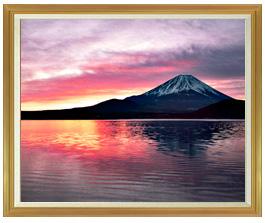 富士山 (2)  F50サイズ 【油絵 直筆仕上げ絵画】【額縁付】 油彩 風景画 インテリア絵画 風水画 インテリアアート絵画 1303mm×1046mm 50号