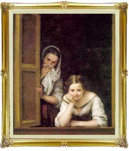 ムリーリョ Two Women at a Window F20 【油絵 直筆仕上げ 複製画】【油彩 キャンバス 国内生産 インテリア】絵画 販売 20号 人物画 857×736mm 送料無料