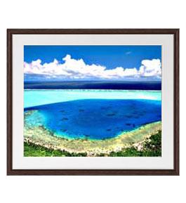 ブルーオーシャン アートフレーム:色ブラウン サイズL 651×541mm 【油絵 直筆仕上げ絵画】【軽量フレーム・額縁付】 油彩 風景画 オリジナルインテリア絵画 風水画 壁掛け