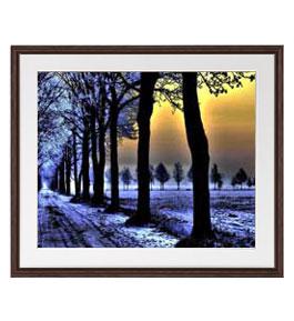 冬の足跡アートフレーム 色ブラウン サイズL 651×541mm油絵 直筆仕上げ絵画軽量フレーム・額表面保護板油n0kXw8OP