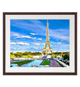 パリ、エッフェル塔 -彩- アートフレーム:色ブラウン サイズL 651×541mm 【油絵 直筆仕上げ絵画】【軽量フレーム・額表面保護板】 油彩 風景画 オリジナルインテリア絵画 風水画 壁掛け