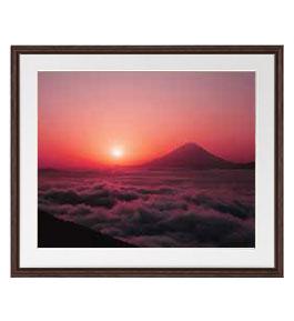 富士山 (1) アートフレーム:色ブラウン サイズL 651×541mm 【油絵 直筆仕上げ絵画】【軽量フレーム・額表面保護板】 油彩 風景画 オリジナルインテリア絵画 風水画 壁掛け