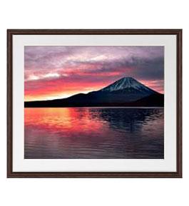 富士山 (2) アートフレーム:色ブラウン サイズL 651×541mm 【油絵 直筆仕上げ絵画】【軽量フレーム・額表面保護板】 油彩 風景画 オリジナルインテリア絵画 風水画 壁掛け