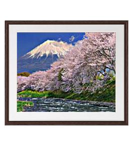 富士山-桜- アートフレーム:色ブラウン サイズL 651×541mm 【油絵 直筆仕上げ絵画】【軽量フレーム・額表面保護板】 油彩 風景画 オリジナルインテリア絵画 風水画 壁掛け