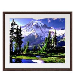 山麓と湖 アートフレーム:色ブラウン サイズL 651×541mm 【油絵 直筆仕上げ絵画】【軽量フレーム・額表面保護板】 油彩 風景画 オリジナルインテリア絵画 風水画 壁掛け