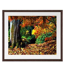 秋、深まる アートフレーム:色ブラウン サイズL 651×541mm 【油絵 直筆仕上げ絵画】【軽量フレーム・額表面保護板】 油彩 風景画 オリジナルインテリア絵画 風水画 壁掛け