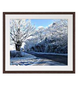 冬の樹木 アートフレーム:色ブラウン サイズL 651×541mm 【油絵 直筆仕上げ絵画】【軽量フレーム・額表面保護板】 油彩 風景画 オリジナルインテリア絵画 風水画 壁掛け