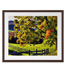 秋のはじまり アートフレーム:色ブラウン サイズL 651×541mm 【油絵 直筆仕上げ絵画】【軽量フレーム・額表面保護板】 油彩 風景画 オリジナルインテリア絵画 風水画 壁掛け