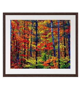 紅葉の森 アートフレーム:色ブラウン サイズL 651×541mm 【油絵 直筆仕上げ絵画】【軽量フレーム・額表面保護板】 油彩 風景画 オリジナルインテリア絵画 風水画 壁掛け