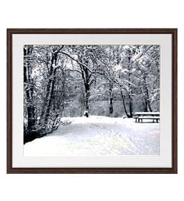 樹氷 アートフレーム:色ブラウン サイズL 651×541mm 【油絵 直筆仕上げ絵画】【軽量フレーム・額表面保護板】 油彩 風景画 オリジナルインテリア絵画 風水画 壁掛け
