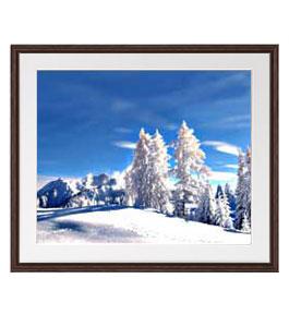 冬の幻想 アートフレーム:色ブラウン サイズL 651×541mm 【油絵 直筆仕上げ絵画】【軽量フレーム・額表面保護板】 油彩 風景画 オリジナルインテリア絵画 風水画 壁掛け