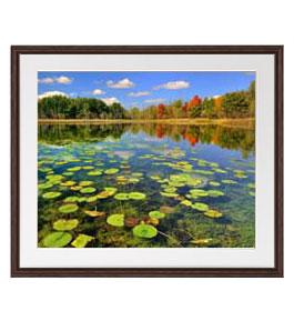 追憶の湖 アートフレーム:色ブラウン サイズL 651×541mm 【油絵 直筆仕上げ絵画】【軽量フレーム・額表面保護板】 油彩 風景画 オリジナルインテリア絵画 風水画 壁掛け