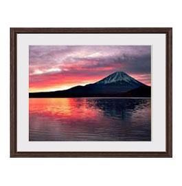 富士山 (2) アートフレーム:色ブラウン サイズM 521×428mm 【油絵 直筆仕上げ絵画】【軽量フレーム・額表面保護板】 油彩 風景画 オリジナルインテリア絵画 風水画 壁掛け