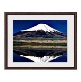 富士山(3) アートフレーム:色ブラウン サイズM 521×428mm 【油絵 直筆仕上げ絵画】【軽量フレーム・額表面保護板】 油彩 風景画 オリジナルインテリア絵画 風水画 壁掛け