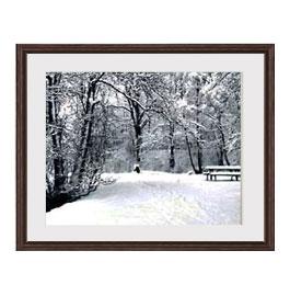 樹氷 アートフレーム:色ブラウン サイズM 521×428mm 【油絵 直筆仕上げ絵画】【軽量フレーム・額表面保護板】 油彩 風景画 オリジナルインテリア絵画 風水画 壁掛け