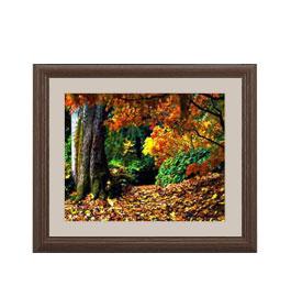 秋、深まる アートフレーム:色ブラウン サイズS 321×271mm 【油絵 直筆仕上げ絵画】【軽量フレーム・額表面保護板】 油彩 風景画 オリジナルインテリア絵画 風水画 壁掛け