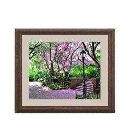 サンタモニカ公園の風景 アートフレーム:色ブラウン サイズS 321×271mm 【油絵 直筆仕上げ絵画】【軽量フレーム・額表面保護板】 油彩 風景画 オリジナルインテリア絵画 風水画 壁掛け