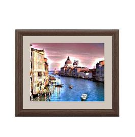 彩色の河街 -ヴェネチア- アートフレーム:色ブラウン サイズS 321×271mm 【油絵 直筆仕上げ絵画】【軽量フレーム・額表面保護板】 油彩 風景画 オリジナルインテリア絵画 風水画 壁掛け
