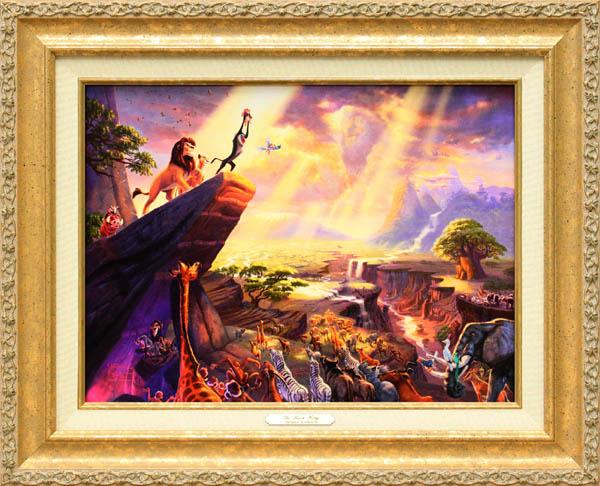 ディズニー/トーマス・キンケード「ライオンキング」作品証明書・展示用フック付キャンバスジークレ【インテリア】【アート】【Disney】【絵画インテリア】