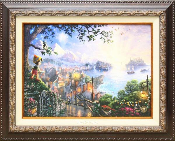 ディズニー/トーマス・キンケード「ピノキオc」作品証明書・展示用フック付キャンバスジークレ【インテリア】【アート】【Disney】【絵画インテリア】