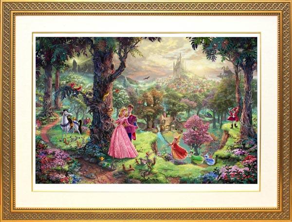 ディズニー/トーマス・キンケード「眠れる森の美女」作品証明書・展示用フック付ジークレ【インテリア】【アート】【Disney】【絵画インテリア】