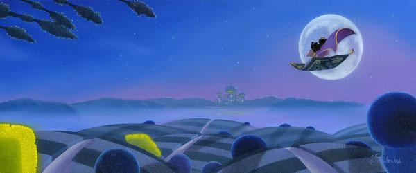 【おしゃれ】 ディズニー絵画「アラジン/アグラバーの月」限定195部 キャンバスジークレ額縁5種展開 作家サイン・作品証明書・展示用フック付, 大川の家具屋さん 18a9b372