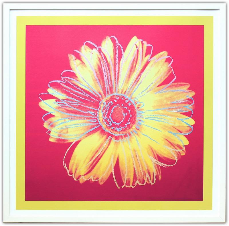 アンディ・ウォーホル「デイジー(フクシャ&イエロー)Daisy,c 1982」展示用フック付ポスター ポップアート 絵画 インテリア