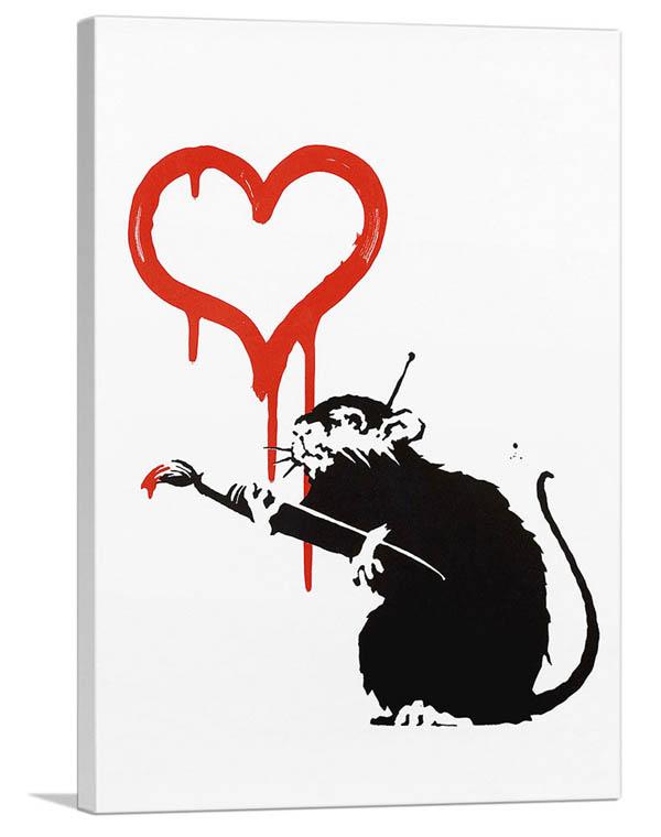 送料無料 Banksy 展示用フック付きキャンバスジークレ バンクシー ラブ ラット キャンバスジークレ S Rat 公式ストア インテリア Love 海外 絵画インテリア