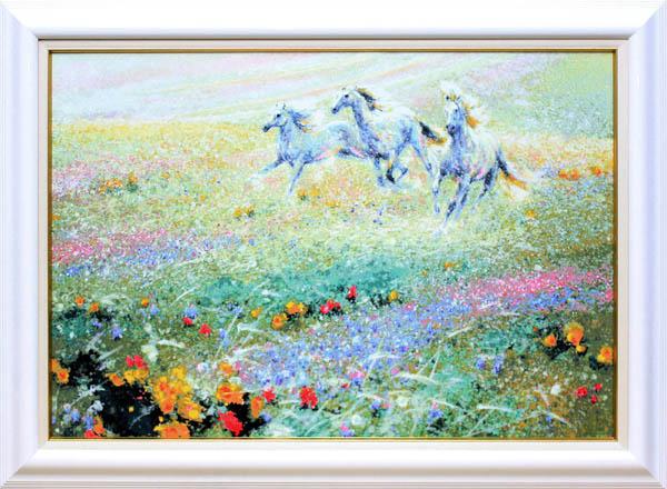 フー・チー・チュン「カリフォルニアの春」展示用フック付キャンバスシルクスクリーン 草原を駆ける馬【インテリア】【アート】【絵画インテリア】