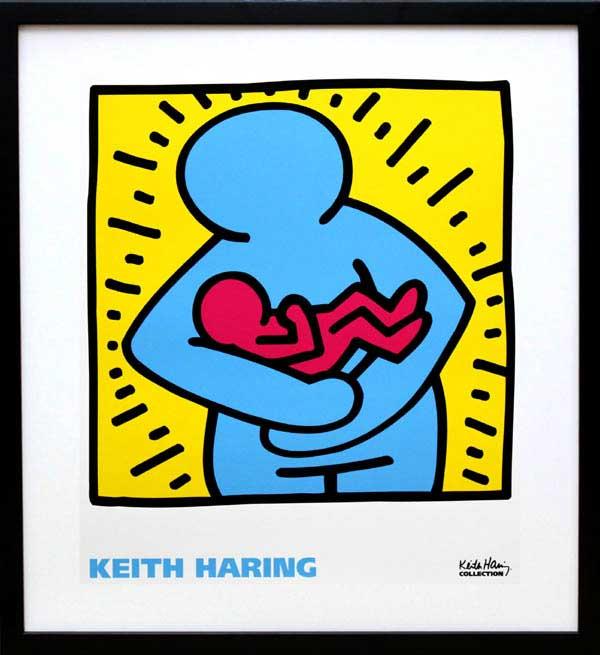 キース・ヘリング「KH06」(黒)展示用フック付ポスター ポップアート【インテリア】【アート】【キースヘリング】【キース ヘリング】【絵画インテリア】【ポスター】