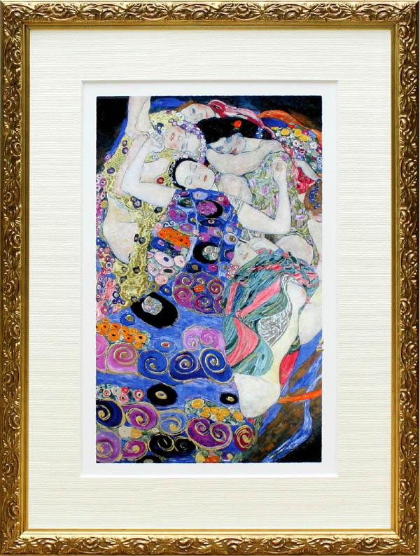 送料無料 グスタフ クリムト Gustav Klimt 版画 フレーム付き グスタフクリムト インテリア アート 絵画インテリア 展示用フック付金箔張ミクストメディア 年間定番 捧呈 バージン 処女