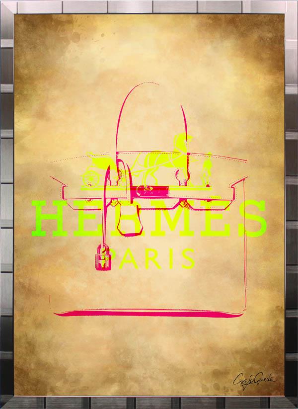 絵画 インテリア ブランドオマージュアート/クレイグ・ガルシア「エルメス/ビンテージ・バーキン(S)」ポスター ポップアート エルメス オマージュ