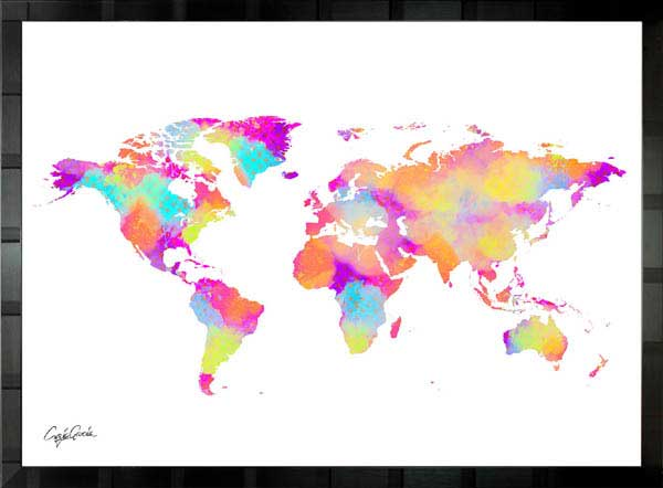 【絵画インテリア】ブランドオマージュアート/クレイグ・ガルシア「ルイ・ヴィトン/ワールドマップ」ポスター【インテリア】【ポップアート】【クレイグガルシア】【ヴィトン】【オマージュ】【パロディ】