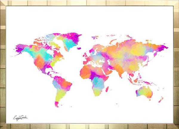 【絵画インテリア】ブランドオマージュアート/クレイグ・ガルシア「ルイ・ヴィトン/ワールドマップ(G)」ポスター【インテリア】【ポップアート】【クレイグガルシア】【ヴィトン】【オマージュ】【パロディ】