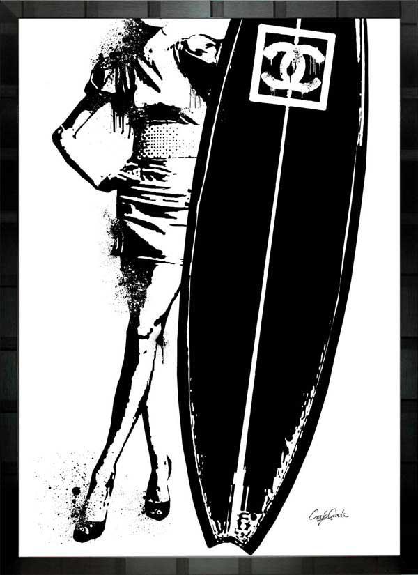 【絵画インテリア】ブランドオマージュアート/クレイグ・ガルシア「シャネル/サーフィンb」ポスター【インテリア】【ポップアート】【クレイグガルシア】【シャネル】【オマージュ】【パロディ】