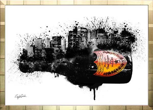 【絵画インテリア】ブランドオマージュアート/クレイグ・ガルシア「ドン・ペリニヨン・シティb(G)」ポスター【インテリア】【ポップアート】【クレイグガルシア】【ドンペリ】【オマージュ】【パロディ】