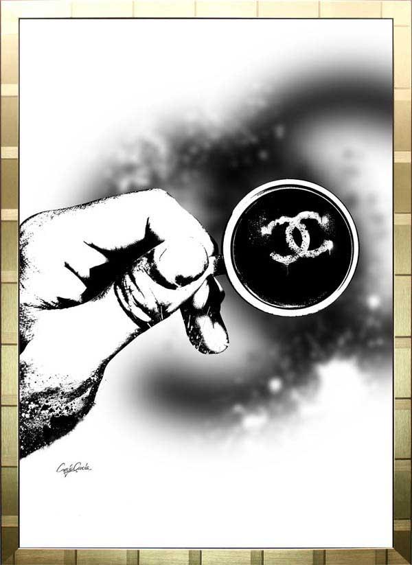 【絵画インテリア】ブランドオマージュアート/クレイグ・ガルシア「シャネル/ラテアート(G)」ポスター【インテリア】【ポップアート】【クレイグガルシア】【シャネル】【オマージュ】【パロディ】