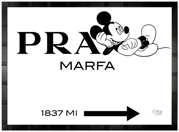 絵画 インテリア ディズニー×ブランドオマージュアート/スターデザイン「ミッキー×プラダ マーファ」A1ポスター