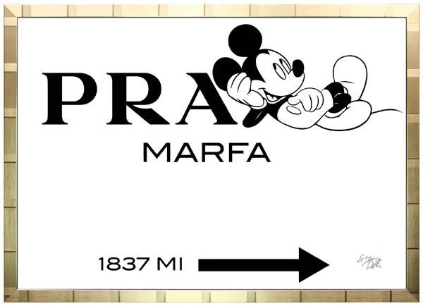絵画 インテリア ディズニー×ブランドオマージュアート/スターデザイン「ミッキー×プラダ マーファ(G)」A1ポスター