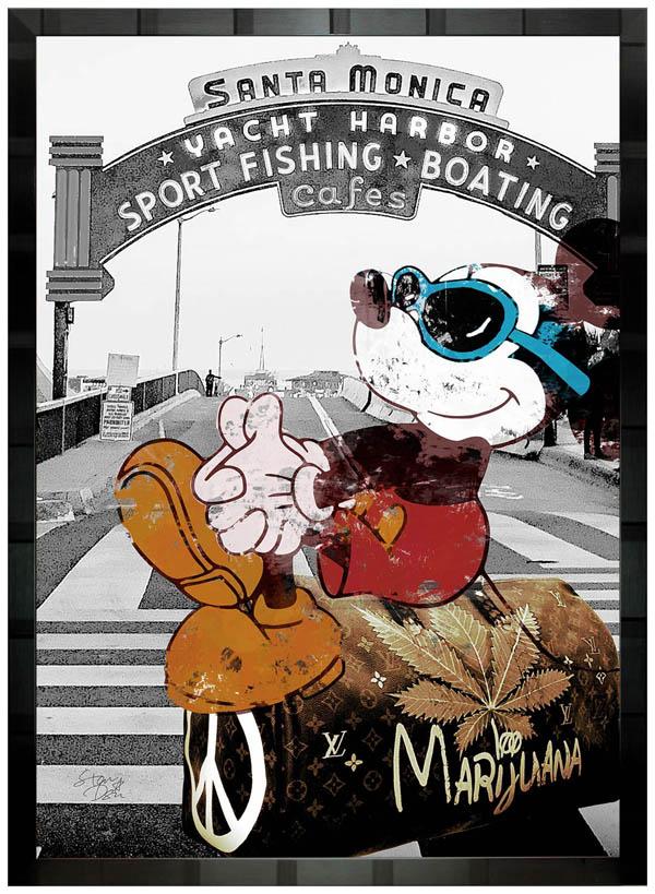 絵画 インテリア ディズニー×ブランドオマージュアート/スターデザイン「ミッキー×ルイ・ヴィトン ハイトリップb」A1ポスター