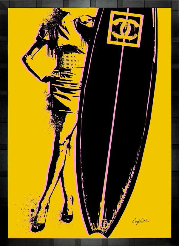絵画 インテリア ブランドオマージュアート/クレイグ・ガルシア「シャネル/サーフィンd」ポスター ポップアート シャネル オマージュ