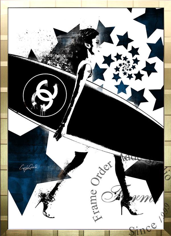 【絵画インテリア】ブランドオマージュアート/クレイグ・ガルシア「シャネル/サーフィン/ボルテックスBWc(G)」ポスター【インテリア】【ポップアート】【クレイグガルシア】【シャネル】【オマージュ】【パロディ】