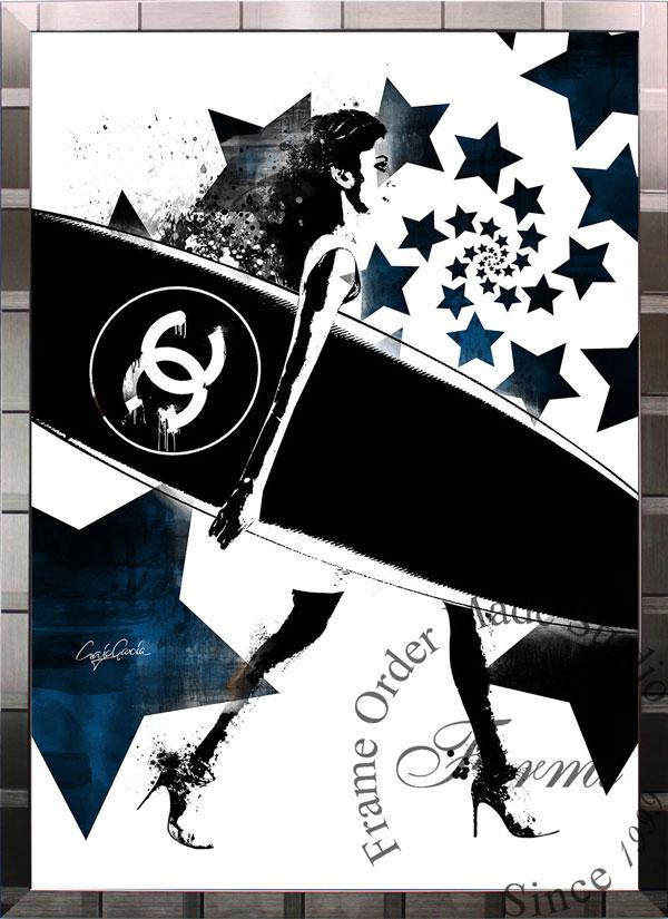 絵画 インテリア ブランドオマージュアート/クレイグ・ガルシア「シャネル/サーフィン/ボルテックスBWc(S)」ポスター ポップアート シャネル オマージュ