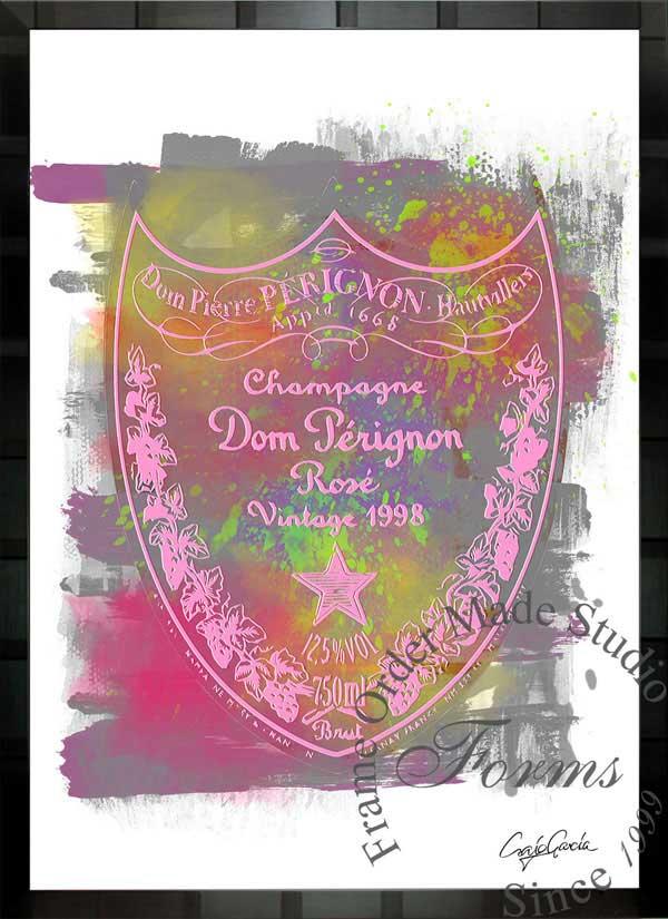 【絵画インテリア】ブランドオマージュアート/クレイグ・ガルシア「ドン・ペリニヨン・ローズc」ポスター【インテリア】【ポップアート】【クレイグガルシア】【ドンペリ】【オマージュ】【パロディ】