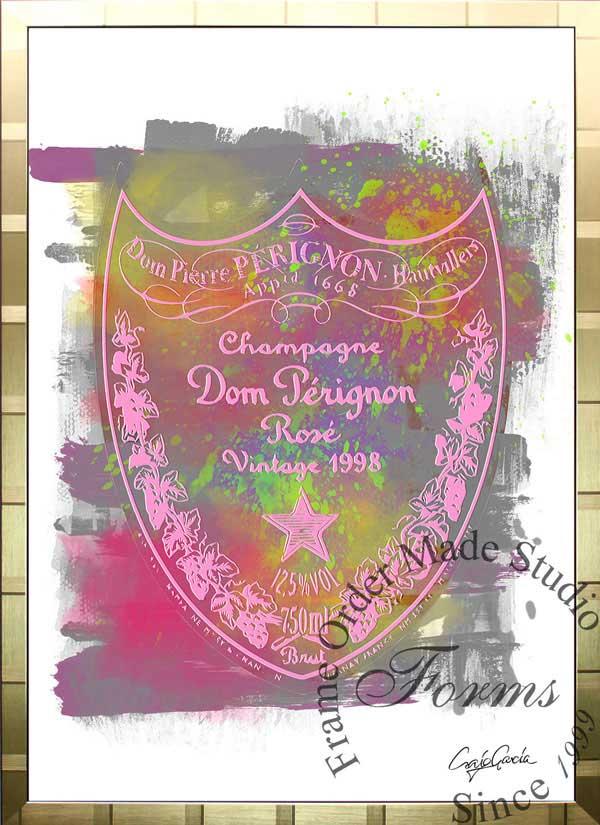 絵画 インテリア ブランドオマージュアート/クレイグ・ガルシア「ドン・ペリニヨン・ローズc(G)」ポスター ポップアート ドンペリ オマージュ